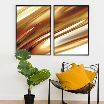 Conjunto de 2 Quadros Decorativos para Sala de Estar Abstrato Riscas Douradas