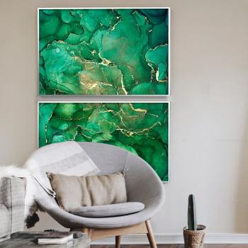 Conjunto de 2 Quadros Decorativos para Sala de Estar Abstrato Verde Esmeralda - Linha Prime