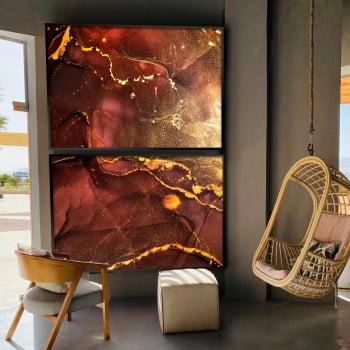 Conjunto de 2 Quadros Decorativos para Sala de Estar Abstrato Vermelho Marte - Linha Prime