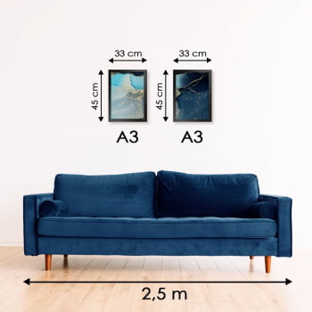 Conjunto de 2 Quadros Decorativos para Sala Turquesa - Linha Prime
