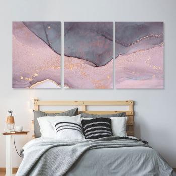 Conjunto de 3 Quadros Decorativos para Quarto Casal Abstrato Rosa Crepe - Rose Gold