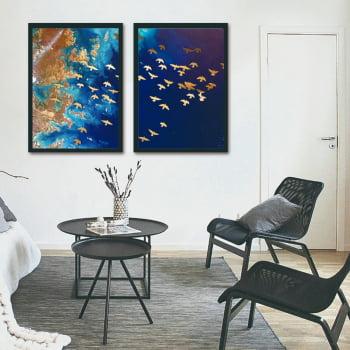 Conjunto de Quadros Decorativos para Quarto Duo Passaredo e Oceano - Linha Prime