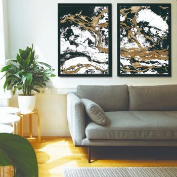 Conjunto de Quadros Decorativos para Sala Duo Abstrato - Linha Prime