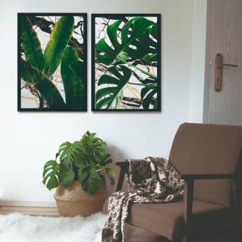 Conjunto de Quadros Decorativos para Sala Duo Folhas - Linha Prime