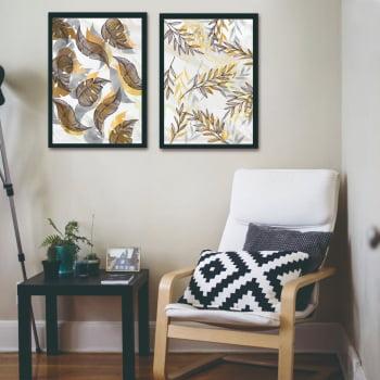 Conjunto de Quadros Decorativos para Sala Duo Folhas Tons Pasteis - Linha Prime