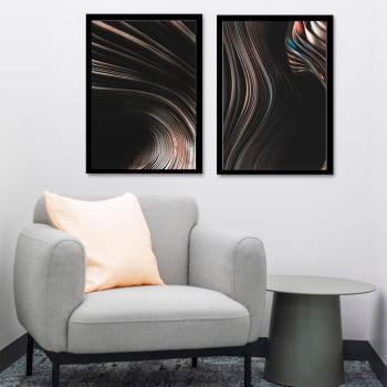 Conjunto de Quadros Decorativos para Sala Duo Wave Abstrato Preto - Linha Prime