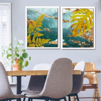 Conjunto de Quadros Decorativos para Sala Duo Wave Folhas Amarelas - Linha Prime
