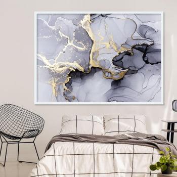 Quadro Decorativo Abstrato Rutilo Cinza - Linha Prime