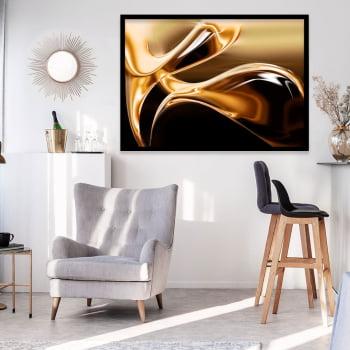 Quadro Decorativo Gota Dourada Abstrato - Linha Prime