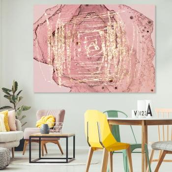Quadro Decorativo para Sala Abstrato Rosa Furacão Dourado - Rose Gold