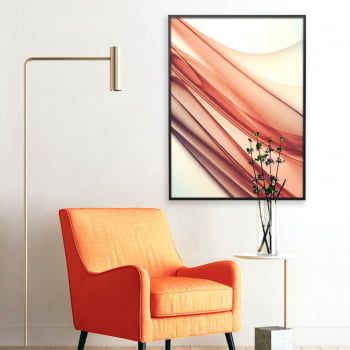 Quadro Decorativo para Sala Abstrato Wave III Laranja - Linha Prime