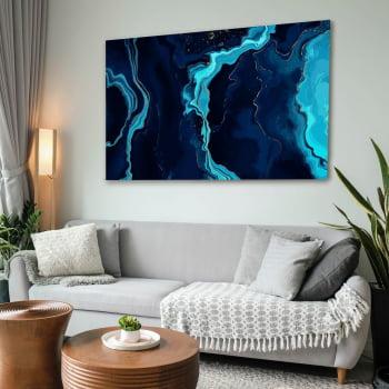 Quadro Decorativo para Sala de Estar Abstrato Mar Azul - Linha Prime