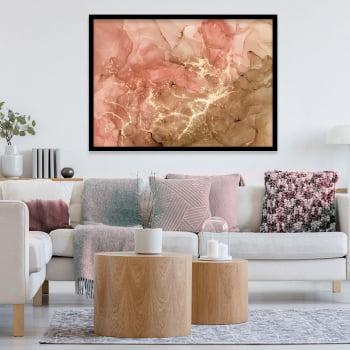 Quadro Decorativo para Sala de Estar Abstrato Rosê - Linha Prime