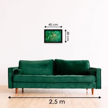 Quadro Decorativo para Sala de Estar Abstrato Verde Esmeralda - Linha Prime