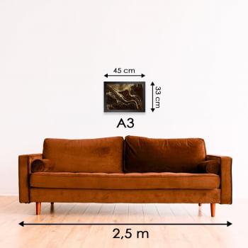 Quadro Decorativo para Sala Obsidiana Mogno - Linha Prime