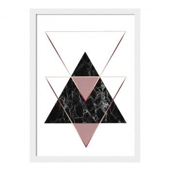 Conjunto de 3 Quadros Decorativos Escandinavo Geométricos Rosa
