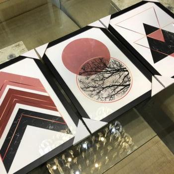 Conjunto de 3 Quadros Decorativos Escandinavo Rose Gold - Geométricos