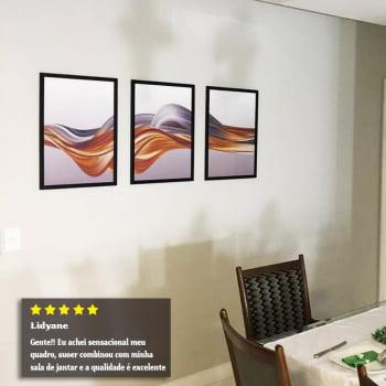Conjunto de 3 Quadros Decorativos Onda Dourada e Prata - Abstrato