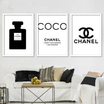 Cojunto de 3 Quadros Decorativos para Sala I Don't Do Fashion I Am Fashion - Chanel Grife