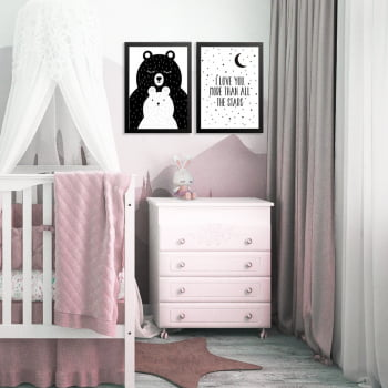Conjunto de 2 Quadros Decorativos para Quarto I Love More Than All The Stars - Infantil