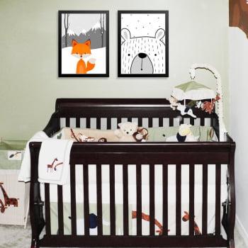 Conjunto de 2 Quadros Decorativos para Quarto Raposa e Urso - Infantil