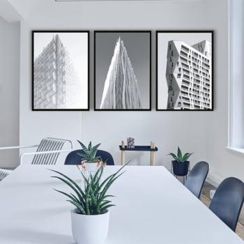 Conjunto de 3 Quadros Decorativos Arquitetura Moderna Corporativa - Preto e Branco
