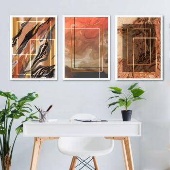 Conjunto de 3 Quadros Decorativos Corporativo Abstrato em Aquarela
