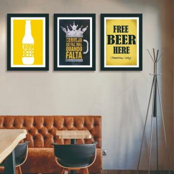 Conjunto de 3 Quadros Decorativos Corporativo Cerveja Só Faz Mal Quando Falta - Frases