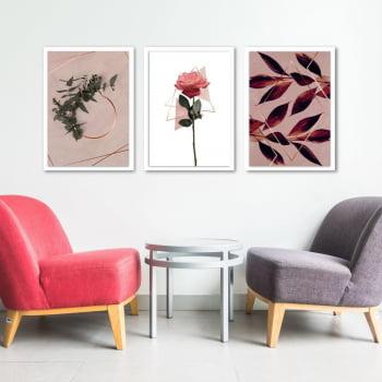 Conjunto de 3 Quadros Decorativos Corporativo Folhas e Rosas