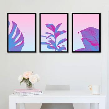 Conjunto de 3 Quadros Decorativos Corporativo Folhas - Rosa