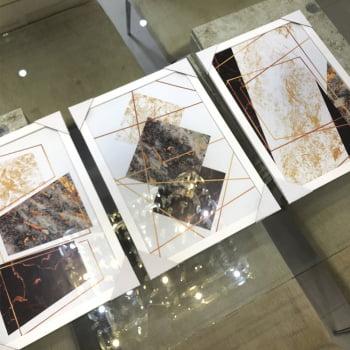 Conjunto de 3 Quadros Decorativos Corporativo Formas Geométricas - Tons Sóbrios - Geométricos