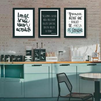 Conjunto de 3 Quadros Decorativos Corporativo Longe Se Vai Quem Acredita - Frases