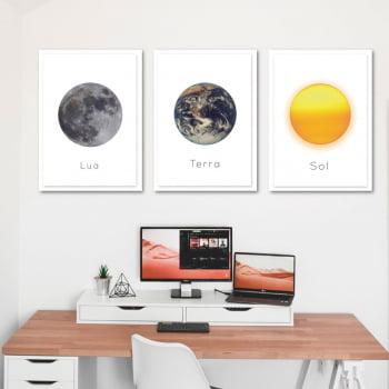 Conjunto de 3 Quadros Decorativos Corporativo Lua, Terra e Sol