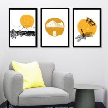 Conjunto de 3 Quadros Decorativos Corporativo Montanhas, Borboleta e Libélula