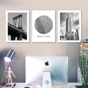 Conjunto de 3 Quadros Decorativos Corporativo New York