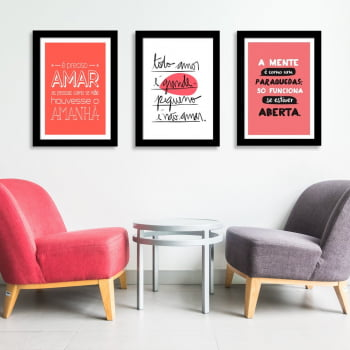 Conjunto de 3 Quadros Decorativos Corporativo Todo Amor É Grande Pequeno É Não Amar - Frases