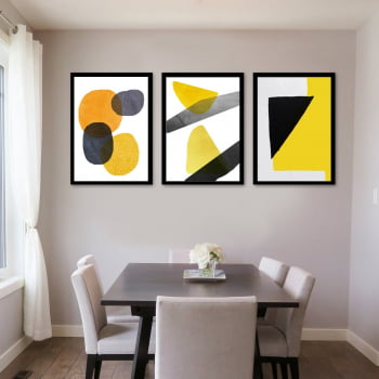 Conjunto de 3 Quadros Decorativos Formas Geométricas - Amarelo - Abstratos