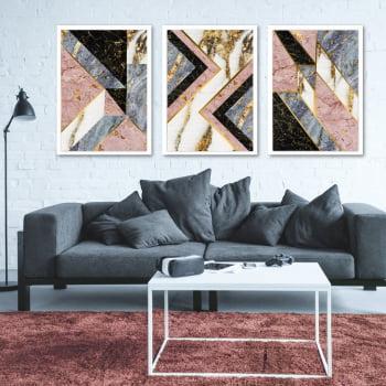 Conjunto de 3 Quadros Decorativos Geométricos - Formas Triangulares - Marmorizado Rosa