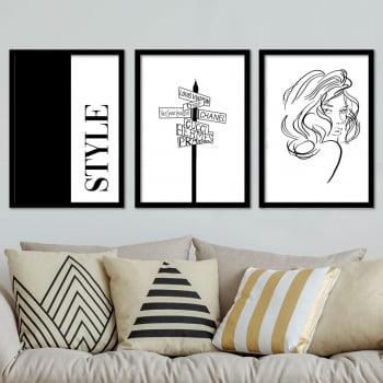 Conjunto de 3 Quadros Decorativos Louis Vuitton Dior Chanel Gucci Hermes Prada Style Grifes