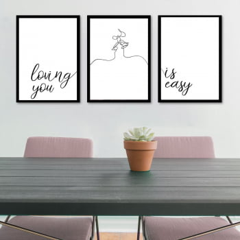 Conjunto de 3 Quadros Decorativos Loving You Is Easy - Namorados