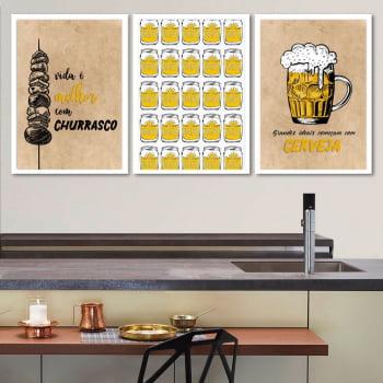 Conjunto de 3 Quadros Decorativos para Espaço Gourmet A Vida é Melhor com Churrasco