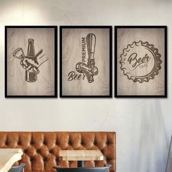 Conjunto de 3 Quadros Decorativos para Espaço Gourmet Beer Premium