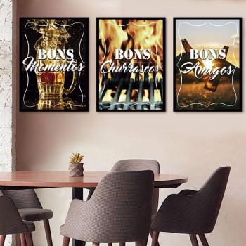 Conjunto de 3 Quadros Decorativos para Espaço Gourmet Bons Momentos