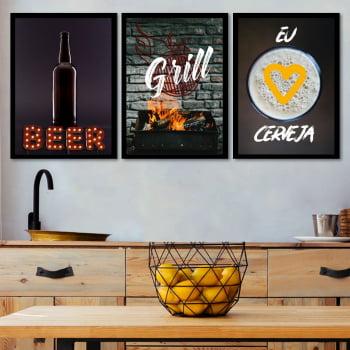 Conjunto de 3 Quadros Decorativos para Espaço Gourmet Eu Amo Cerveja