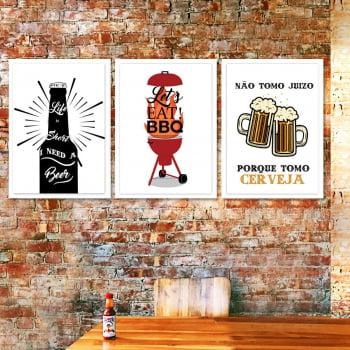 Conjunto de 3 Quadros Decorativos para Espaço Gourmet Let's Eat BBQ