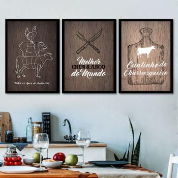 Conjunto de 3 Quadros Decorativos para Espaço Gourmet Melhor Churrasco do Mundo