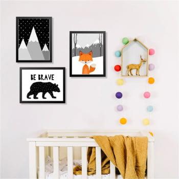 Conjunto de 3 Quadros Decorativos para Quarto Be Brave Urso e Raposa - Infantil