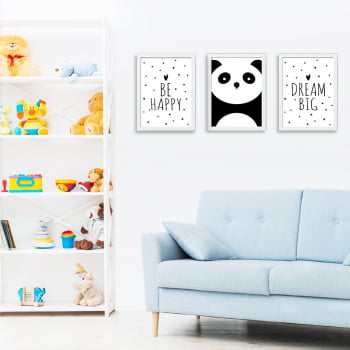 Conjunto de 3 Quadros Decorativos para Quarto Be Happy Dream Big - Infantil