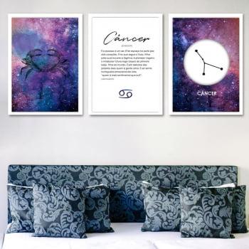 Conjunto de 3 Quadros Decorativos para Quarto Câncer - Signos