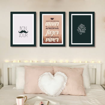 Conjunto de 3 Quadros Decorativos para Quarto Casal Amar, Fazer, Viver - Frases